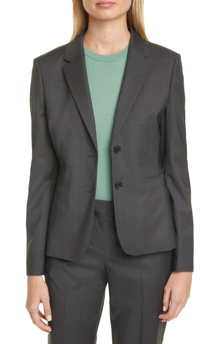 BOSS Jonina Vichy Check Suit Jacket, Main, color, 300