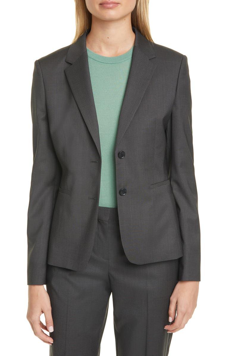 BOSS Jonina Vichy Check Suit Jacket, Main, color, PINE FANTASY