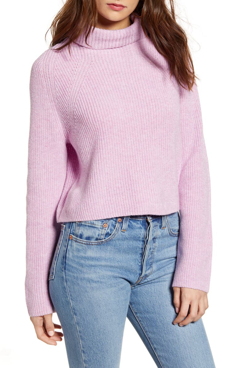 LEITH Transfer Stitch Turtleneck Sweater, Main, color, PINK BOUQUET HEATHER