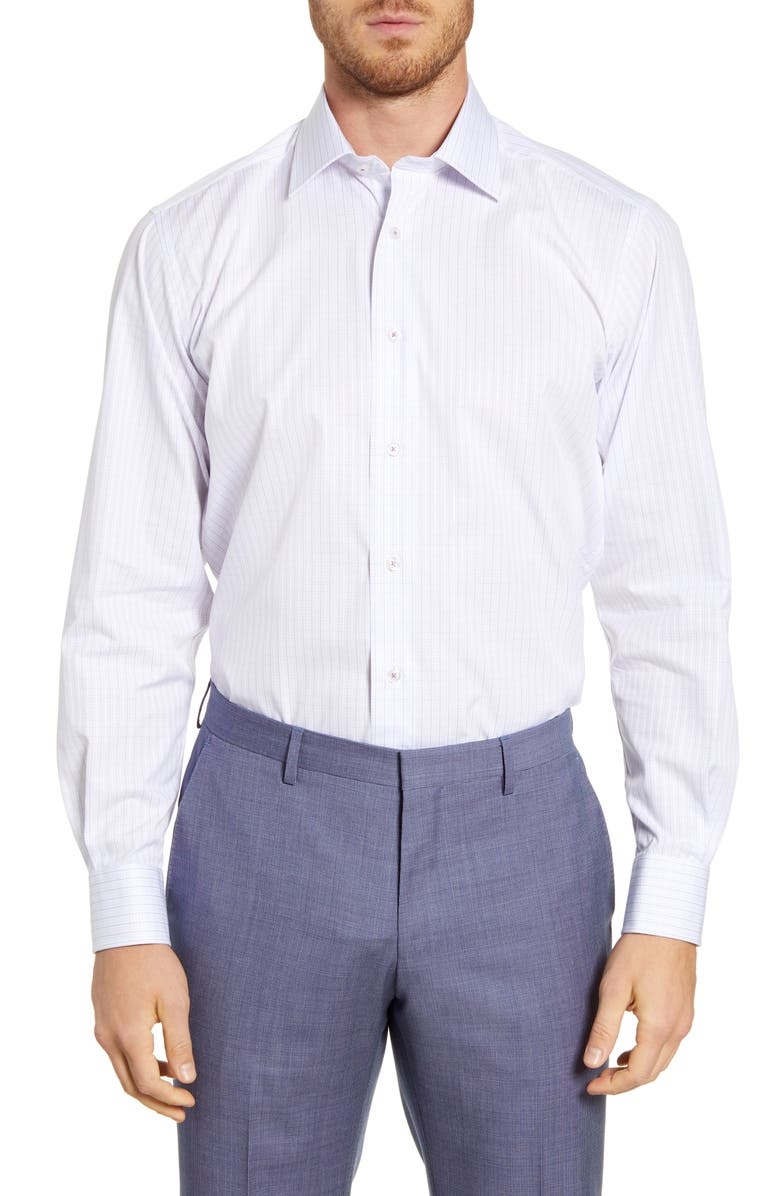 DAVID DONAHUE Regular Fit Check Dress Shirt, Main, color, BERRY