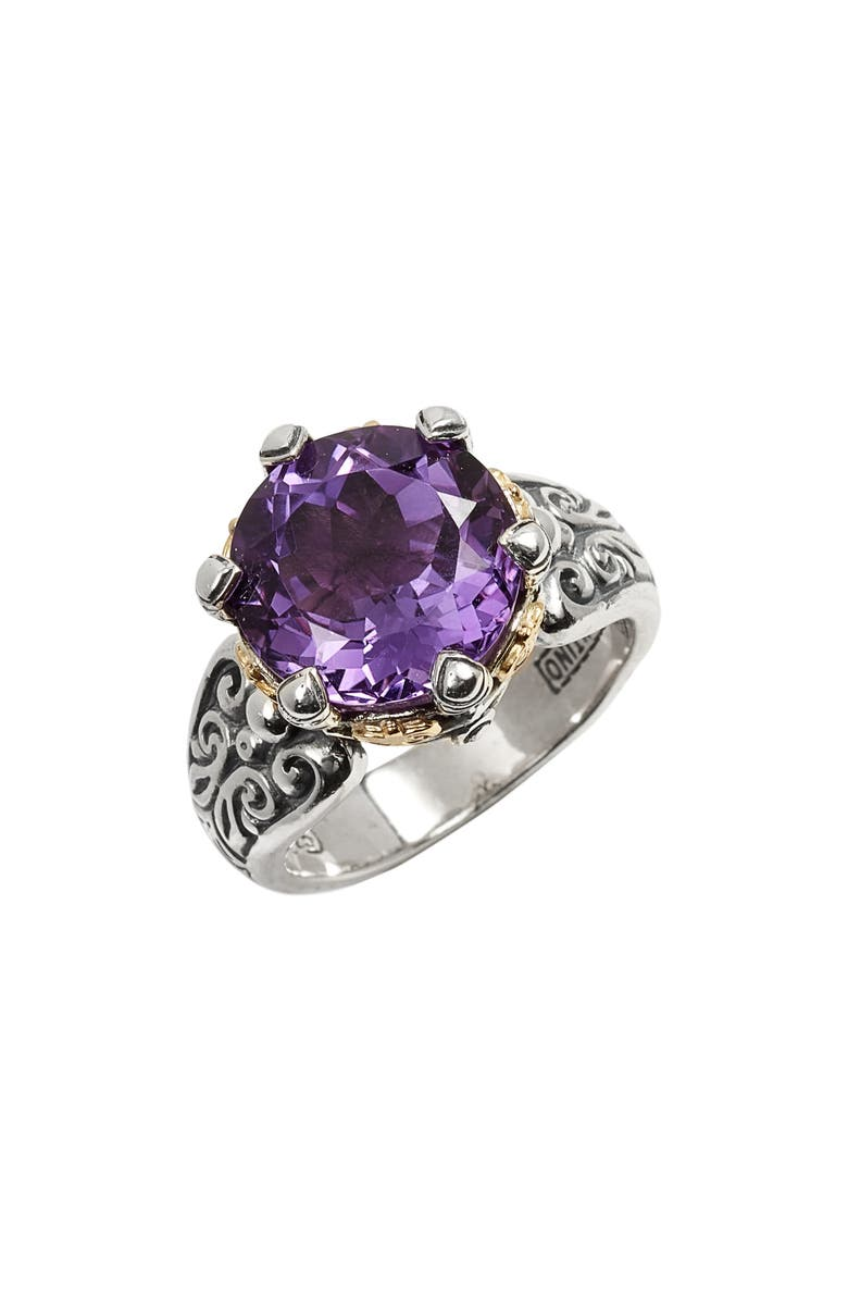 KONSTANTINO Hermione Two-Tone Stone Ring, Main, color, SILVER/ AMETHYST
