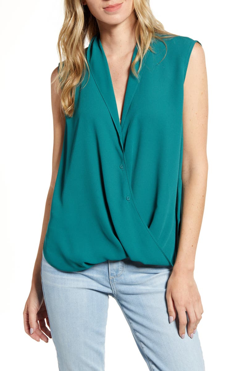CHELSEA28 Twist Front Top, Main, color, GREEN BERRY