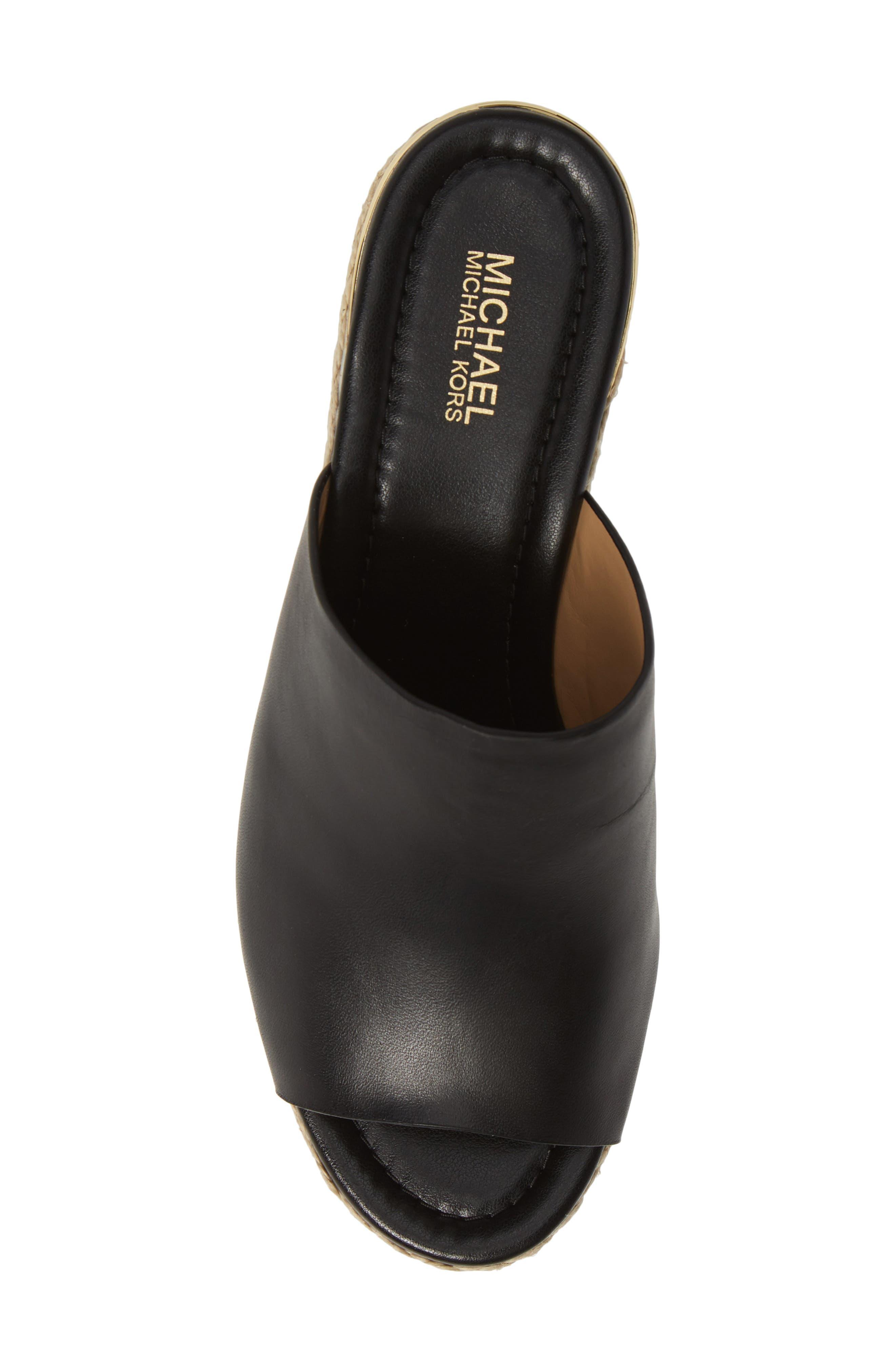 ,                             Cunningham Espadrille Wedge Slide Sandal,                             Alternate thumbnail 5, color,                             BLACK VACHETTA LEATHER