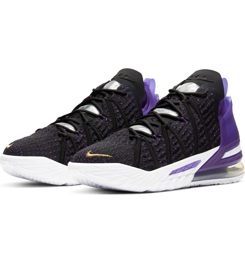 NIKE Lebron XVIII Sneaker, Main, color, 4 BLACK/GOLD-PURPLE-WHITE