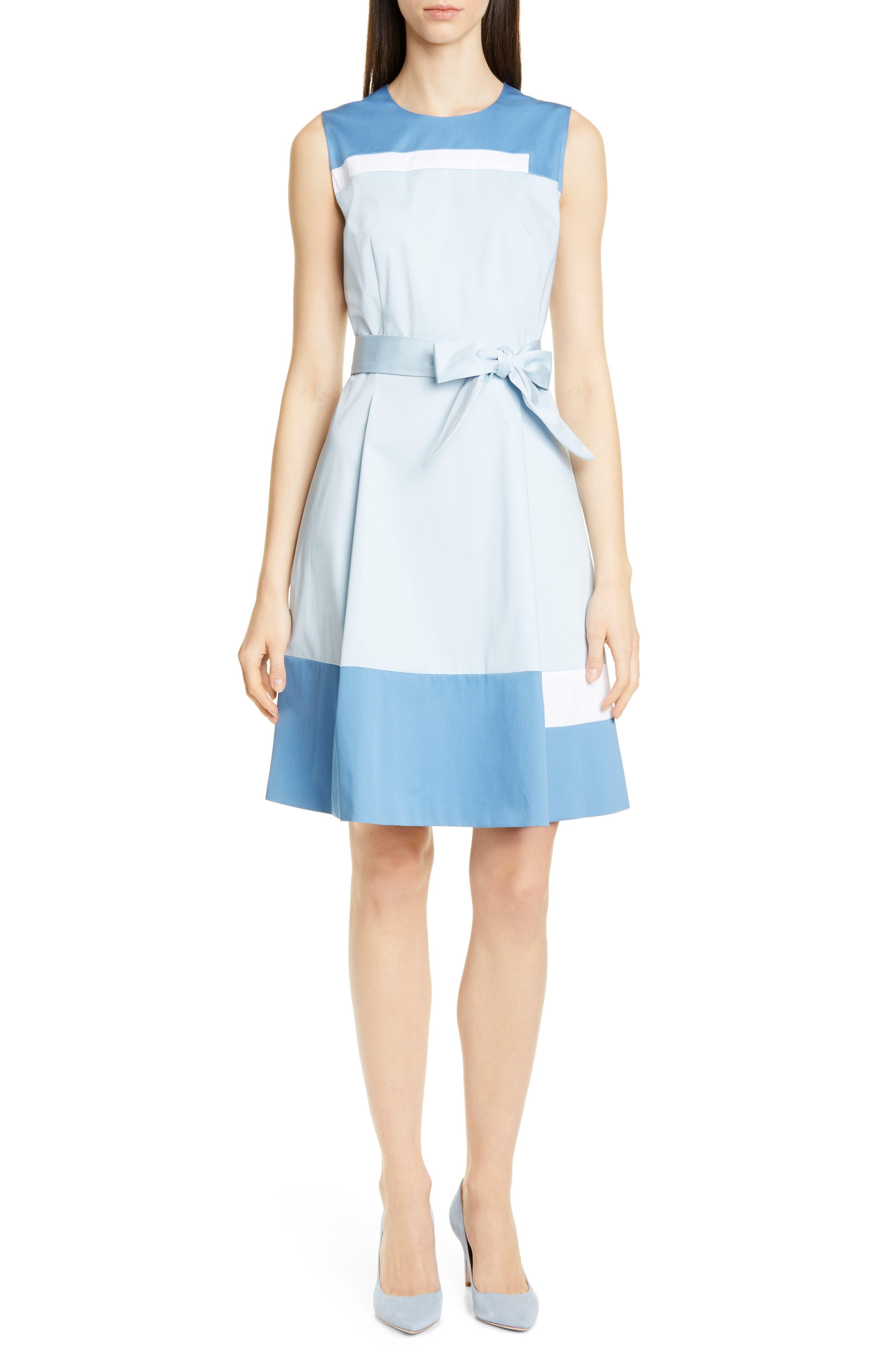 Boss Dadesa Colorblock Cotton Dress, Blue