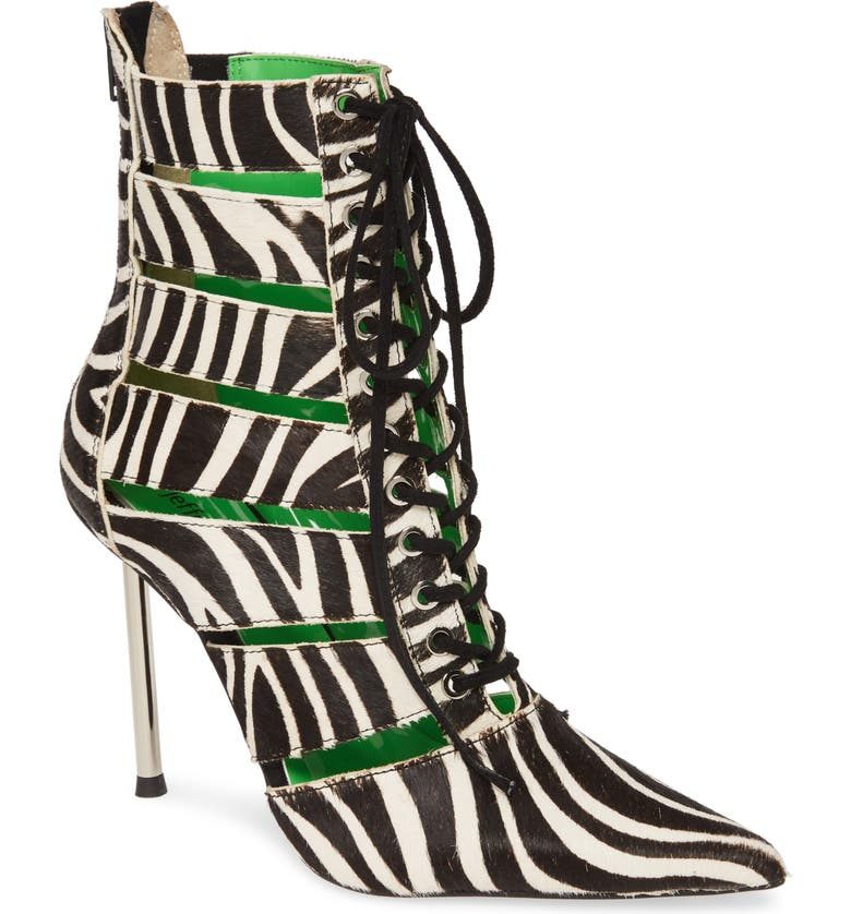 JEFFREY CAMPBELL Dominion Pointy Toe Bootie, Main, color, BLACK WHITE ZEBRA