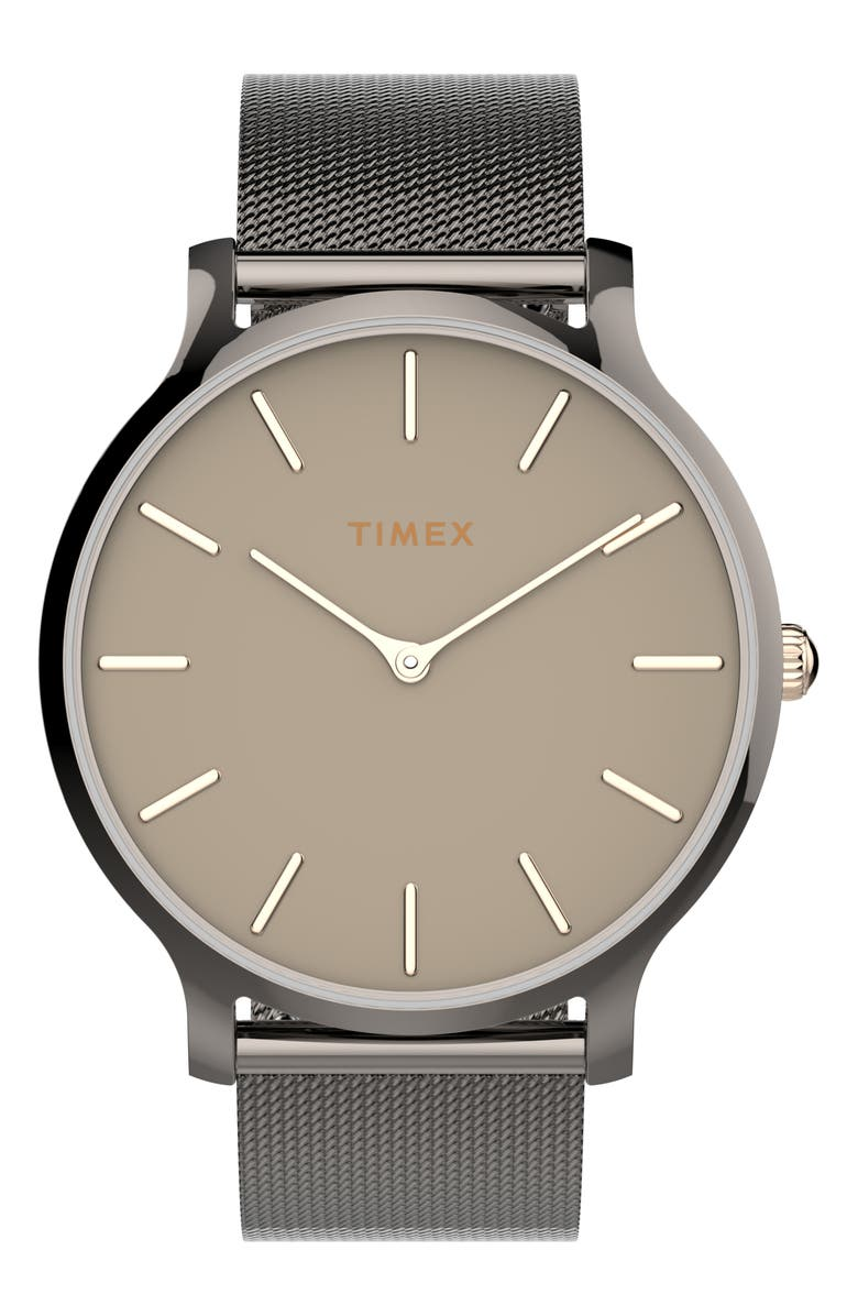 TIMEX<SUP>®</SUP> Transcend Mesh Strap Watch, 38mm, Main, color, GUNMETAL