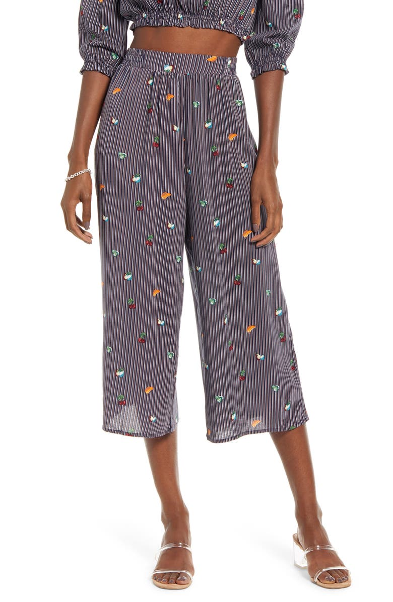 ONE CLOTHING Fruit Salad Crop Wide Leg Pants, Main, color, NAVY MULTI