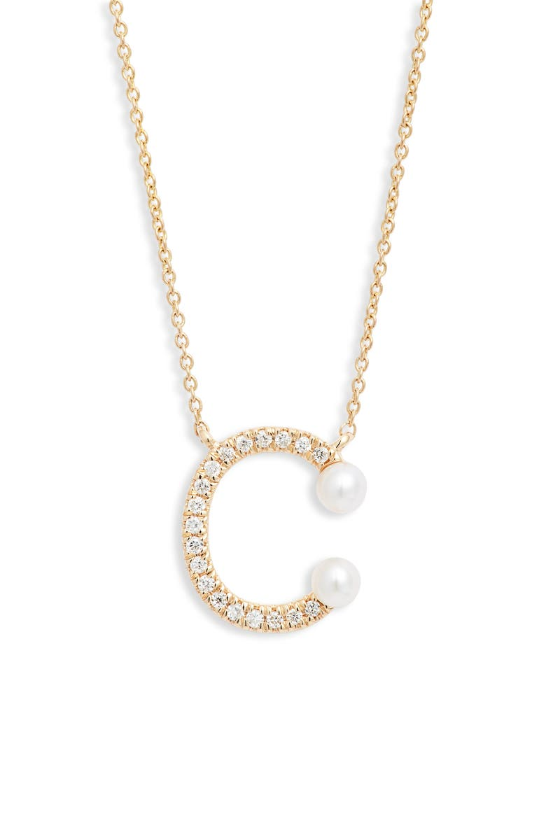 DANA REBECCA DESIGNS Pearl Ivy Initial Necklace, Main, color, YELLOW GOLD- C