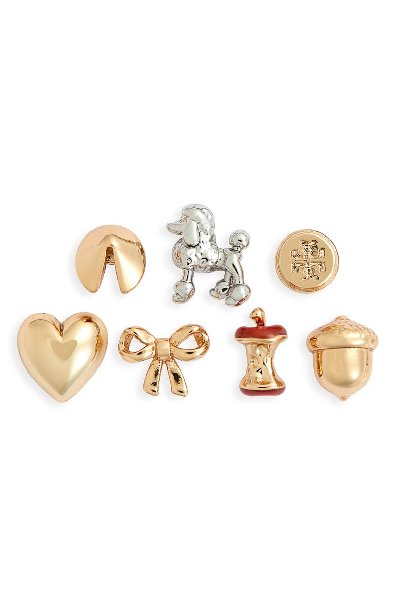 TORY BURCH Holiday Charm Set of 7 Stud Earrings, Main, color, TORY GOLD / TORY SILVER