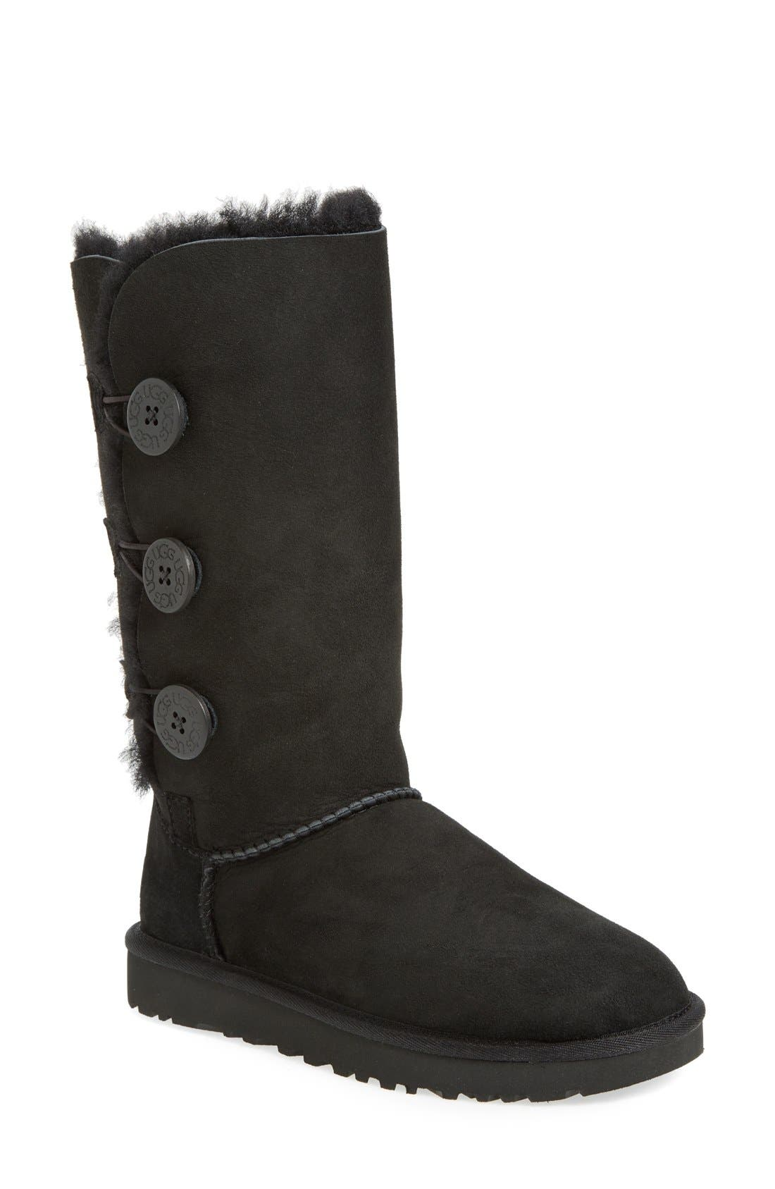 Ugg Bailey Button Triplet Ii Genuine Shearling Boot, Black