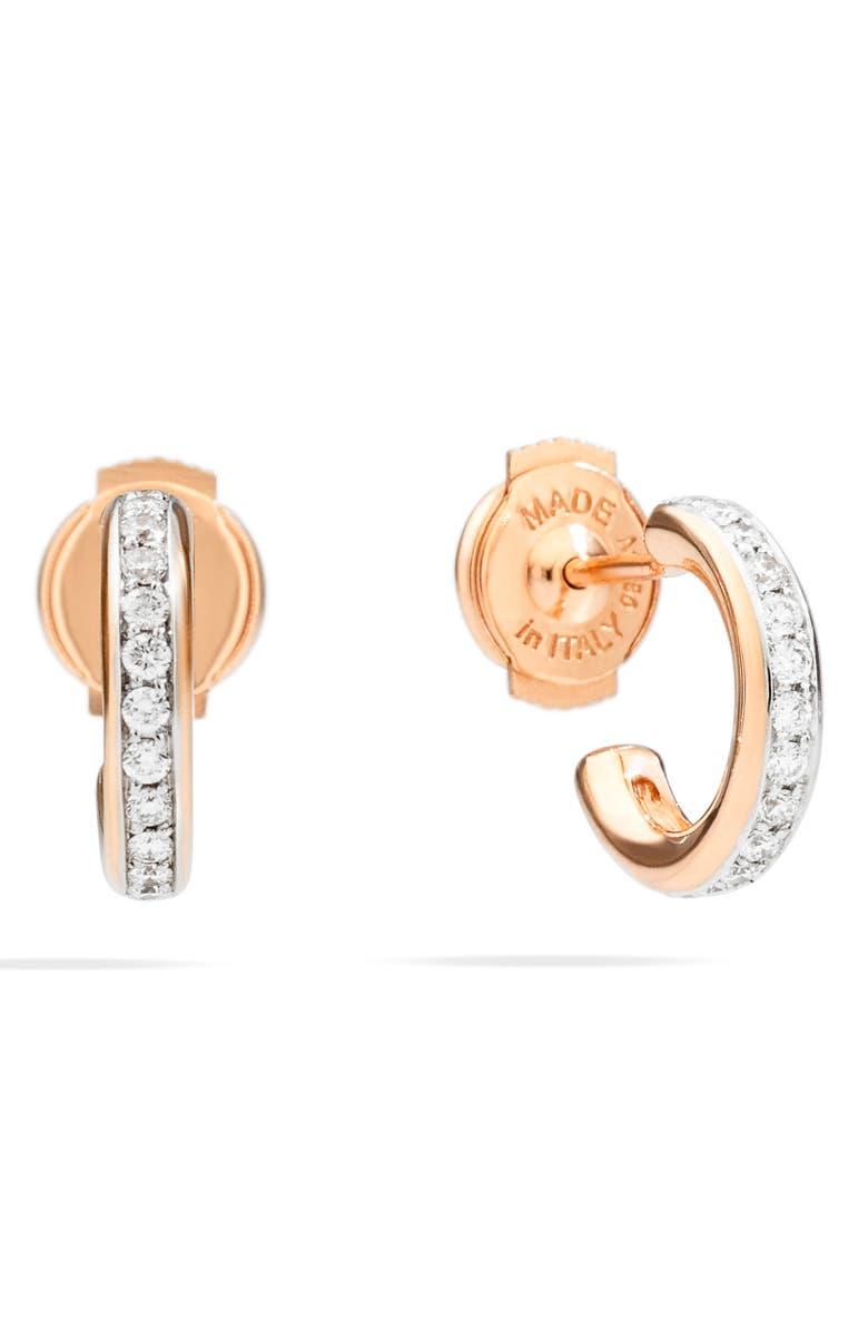 POMELLATO Iconica Diamond Huggie Hoop Earrings, Main, color, ROSE GOLD/ DIAMOND