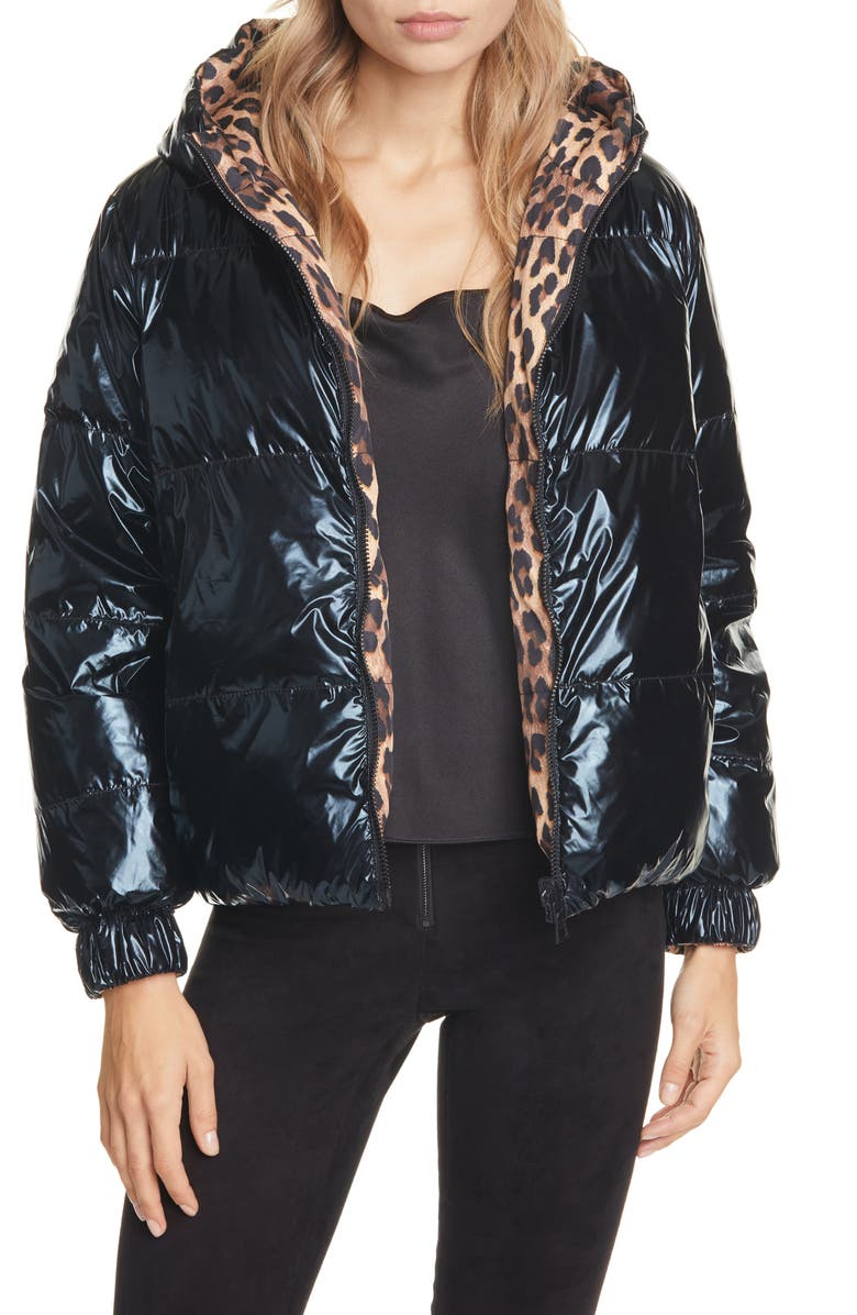 ALICE + OLIVIA Durham Reversible Hooded Down Puffer Coat, Main, color, SPOTTED LEOPARD DARK TAN/ BLK