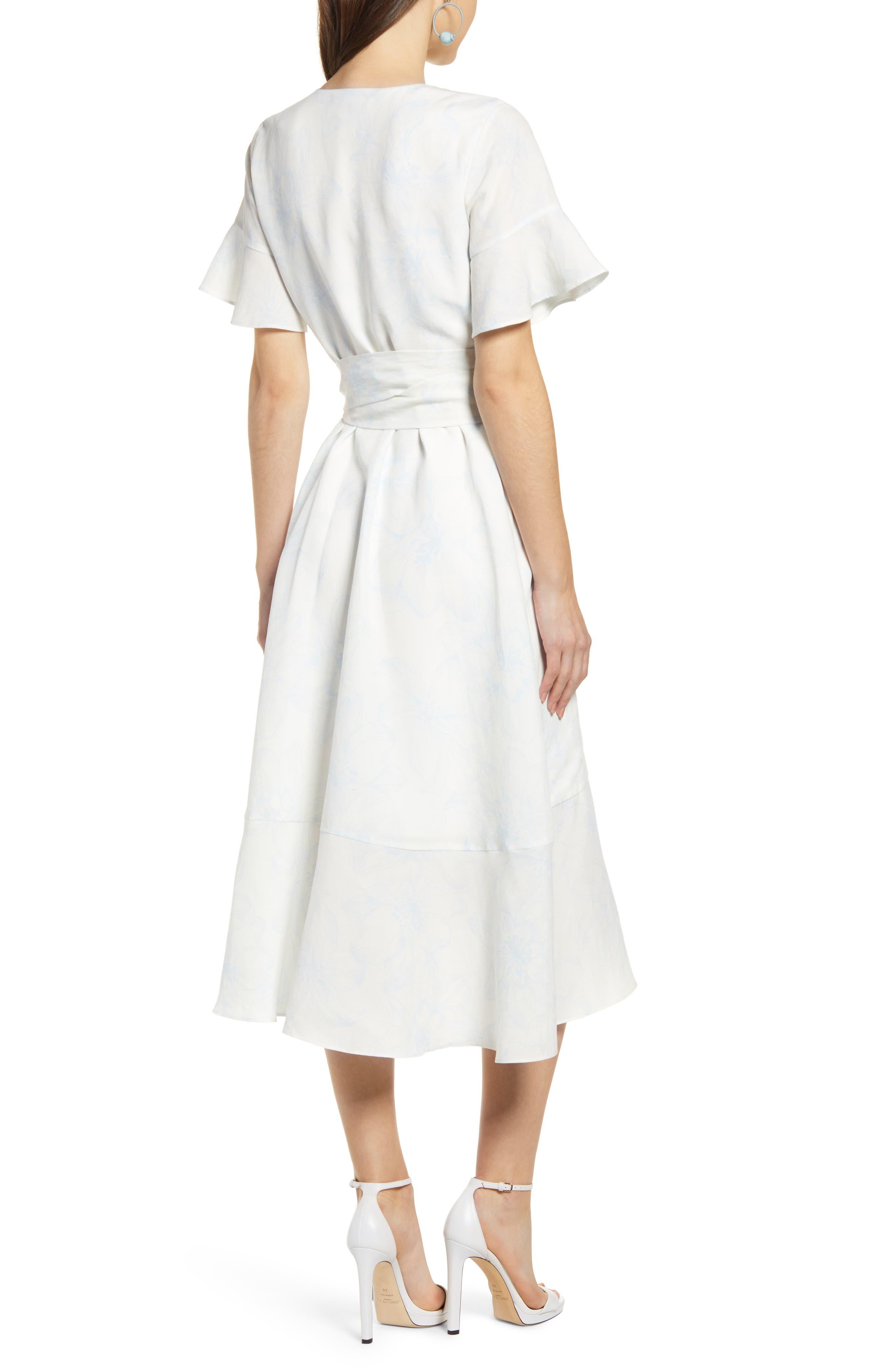 ,                             Ruffle Wrap Dress,                             Alternate thumbnail 4, color,                             IVORY DOVE SKETCH FLORAL