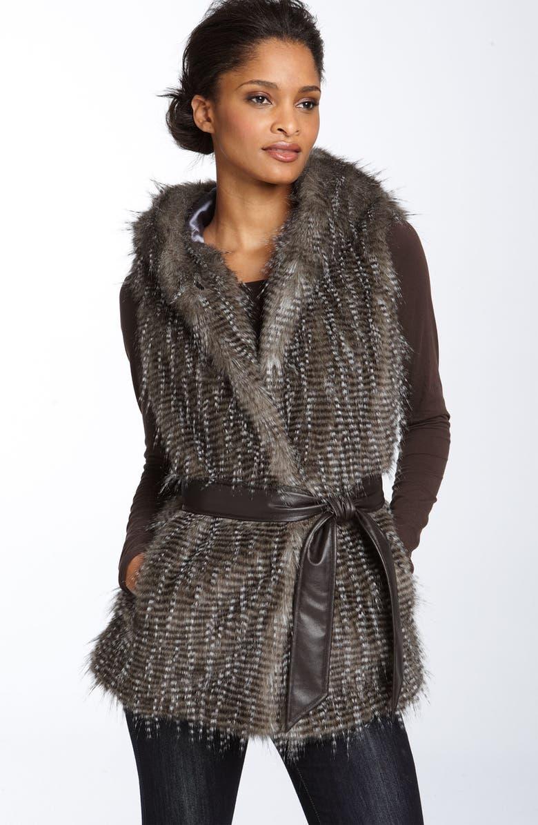 KRISTEN BLAKE Hooded Faux Fur Vest, Main, color, 477