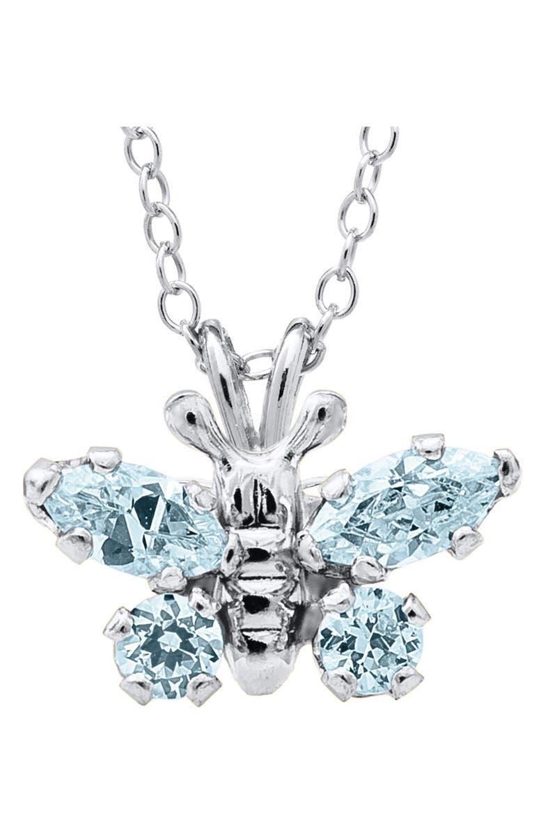 MIGNONETTE Butterfly Birthstone Sterling Silver Pendant Necklace, Main, color, MARCH