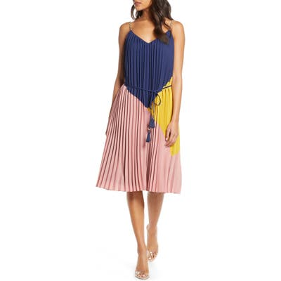 Adelyn Rae Colorblock Pleated Dress, Pink
