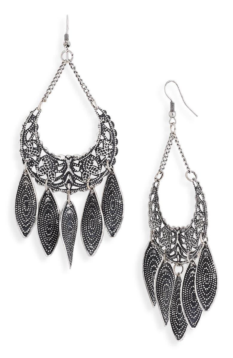 CAROLE Oval Drop Earrings, Main, color, SILVER