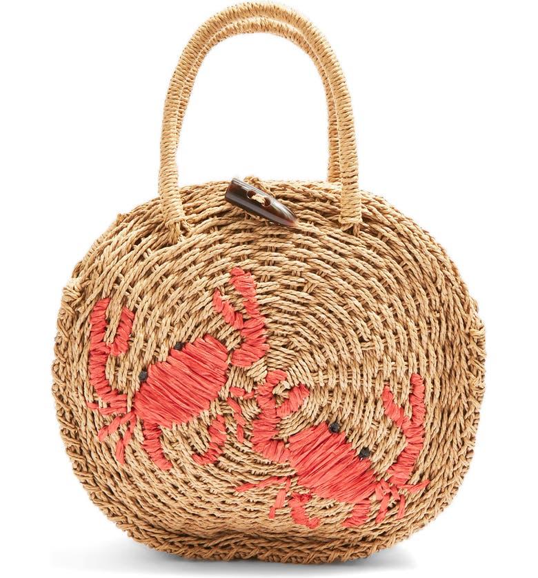 TOPSHOP Crab Straw Mini Tote Bag, Main, color, 250