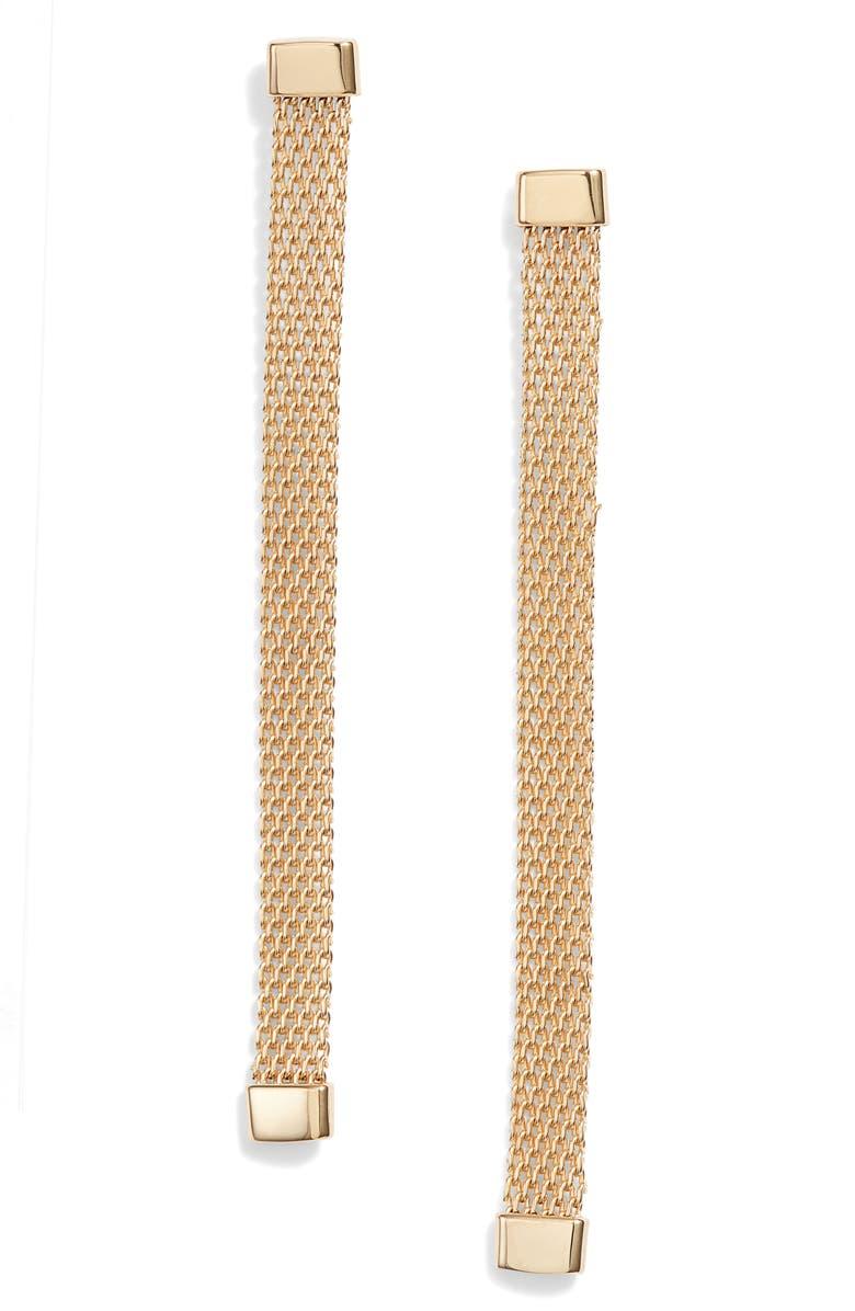 JENNIFER ZEUNER Luisa Linear Earrings, Main, color, YELLOW GOLD VERMEIL