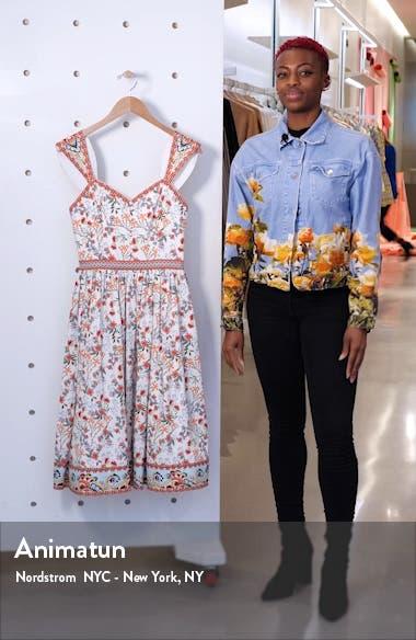 Portia Floral Sweetheart Neck Stretch Cotton Midi Dress, sales video thumbnail