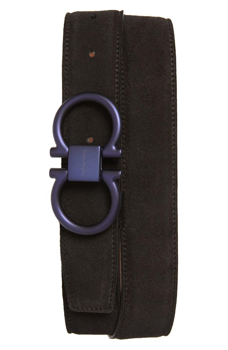 SALVATORE FERRAGAMO Double Gancio Buckle Suede Belt, Main, color, BLACK