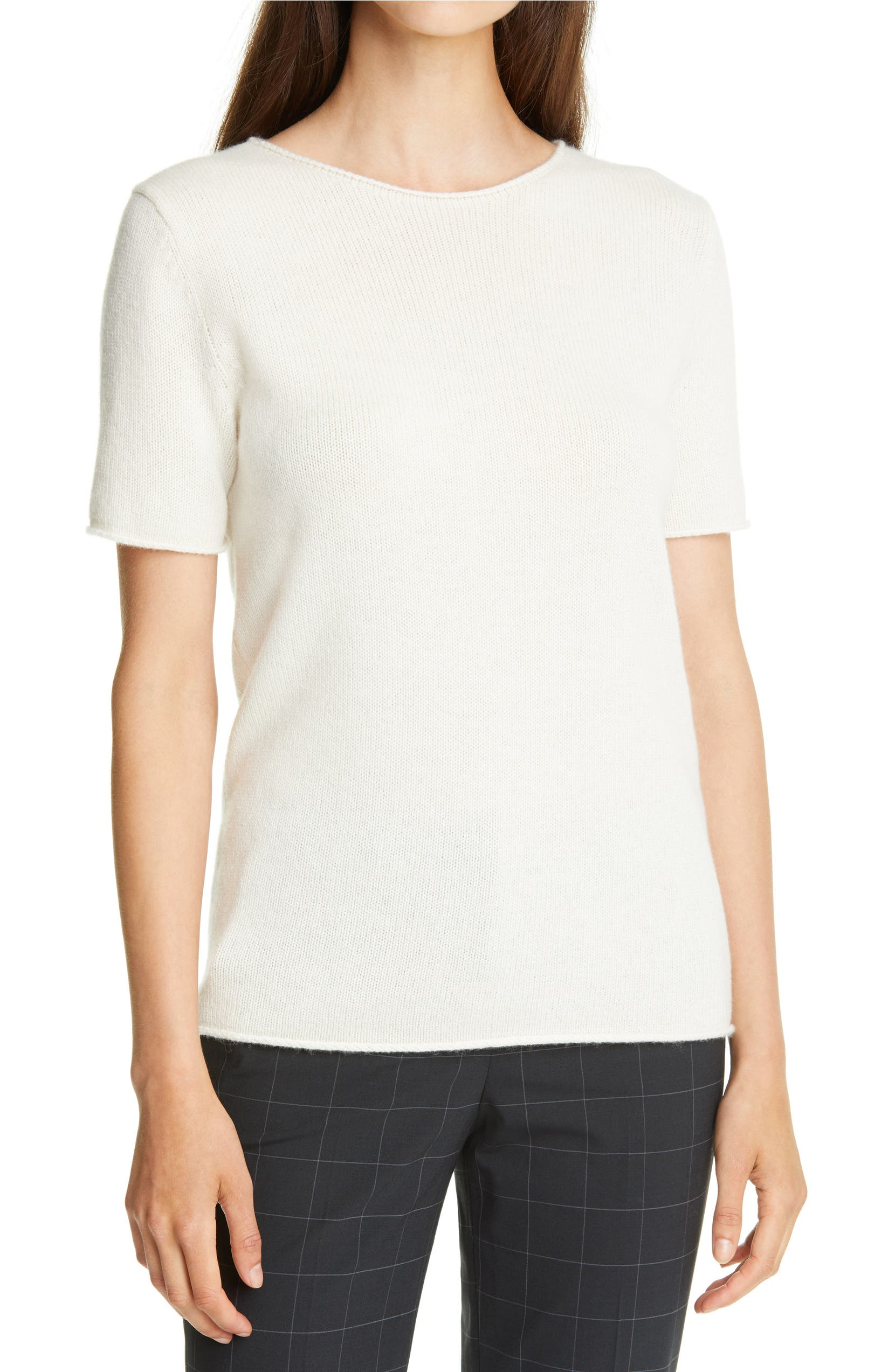 THEORY Tolleree Short Sleeve Cashmere Sweater, Main, color, IVORY