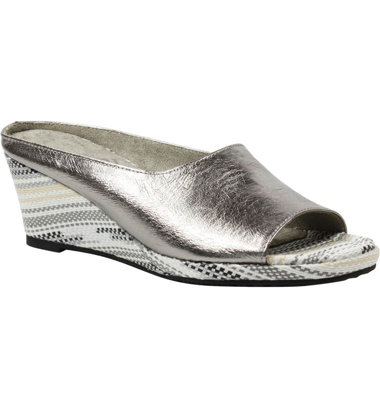 J. RENEÉ Abrielle Wedge Mule, Main, color, TAUPE METALLIC LEATHER