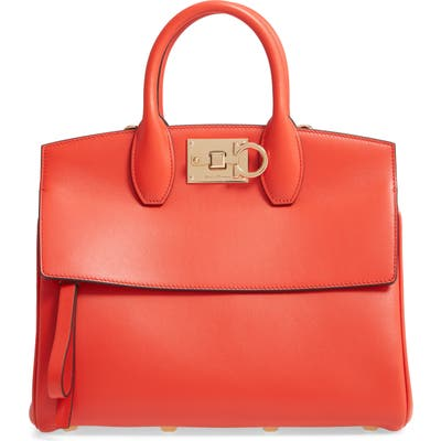 Salvatore Ferragamo Studio Leather Top Handle Bag - Coral