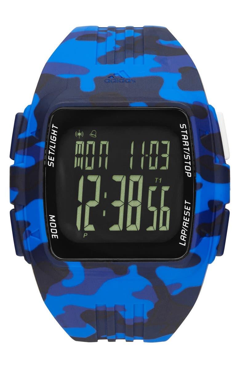 ADIDAS 'Duramo' Digital Watch, 50mm, Main, color, 400
