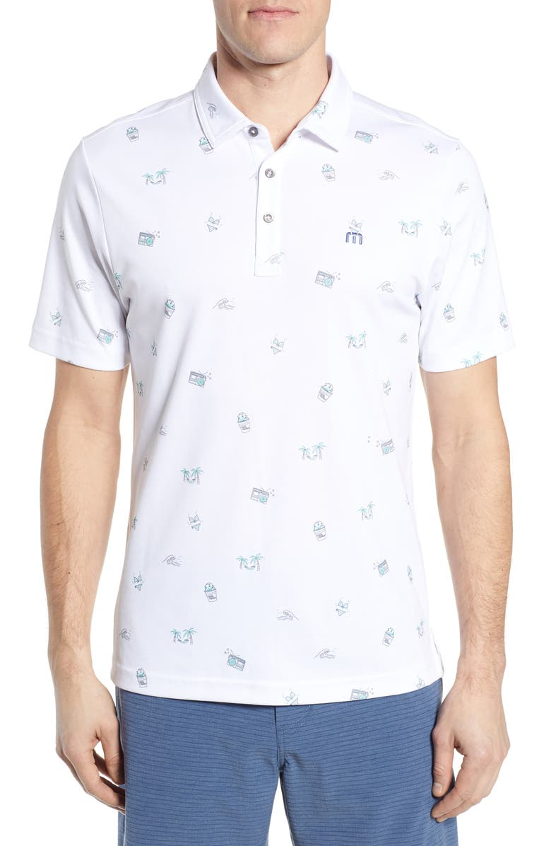 TRAVISMATHEW Loose Caboose Regular Fit Performance Polo, Main, color, WHITE