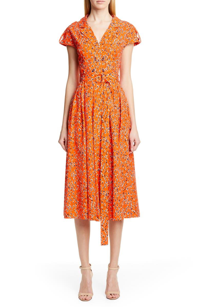 LELA ROSE Floral Print Midi Shirtdress, Main, color, VERMILLION