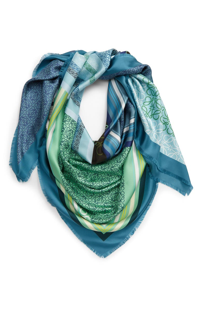 LOEWE Patchwork Print Silk Square Scarf, Main, color, BLUE/ GREEN