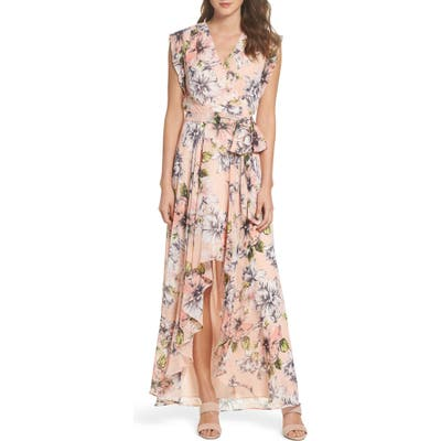 Petite Eliza J Floral Ruffle High/low Maxi Dress, Pink