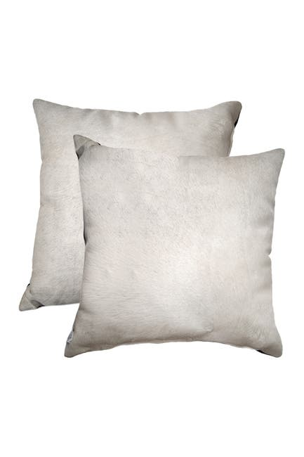 """Image of Natural Torino Genuine Cowhide Pillow - Set of 2 - 18""""x18"""" - Off White"""