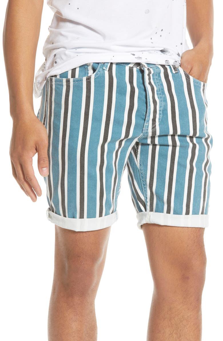 TOPMAN Stripe Skinny Denim Shorts, Main, color, BLUE MULTI