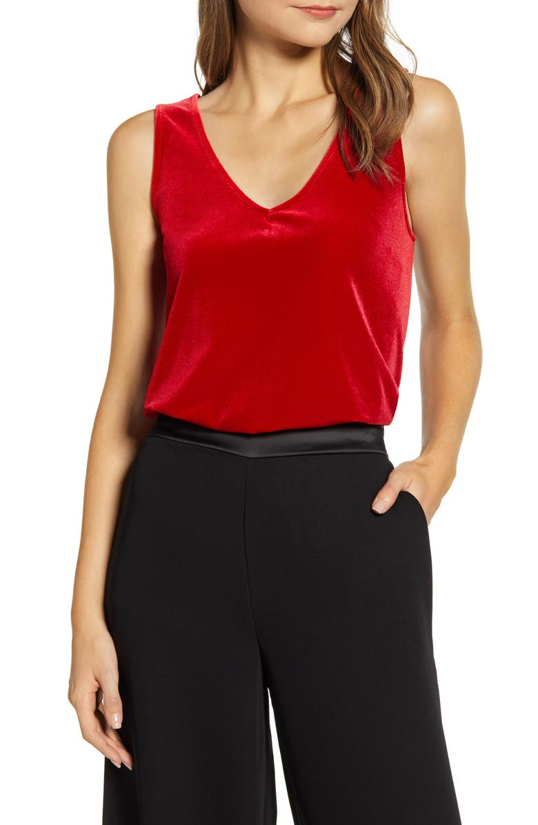 GIBSON x Hi Sugarplum! Holiday Confetti Double V-Neck Tank, Main, color, 642
