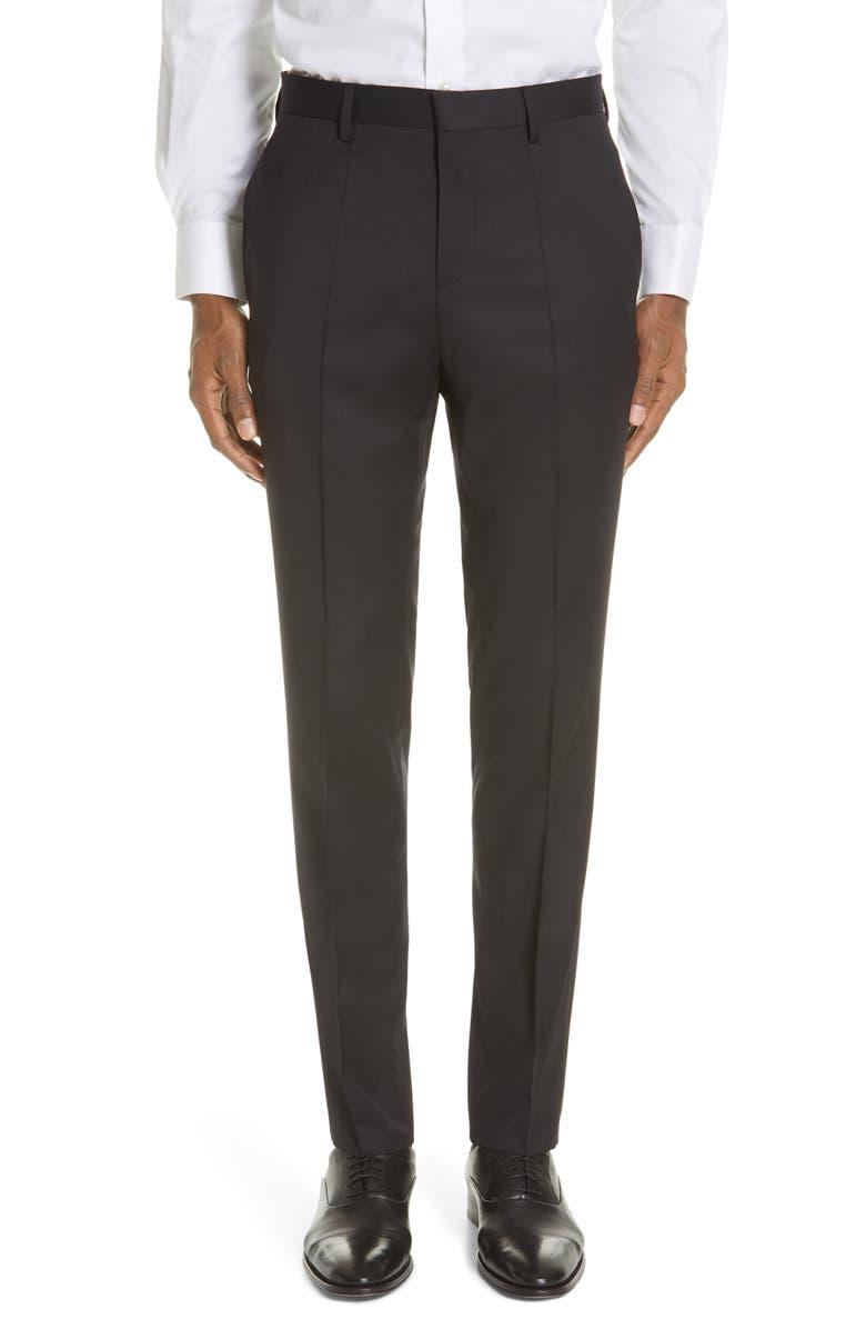 BOSS Genesis Flat Front Slim Fit Solid Wool Dress Pants, Main, color, BLACK