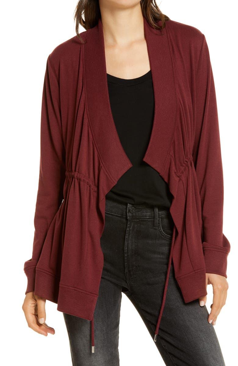 ALLSAINTS Gina Drape Jacket, Main, color, OXBLOOD RED