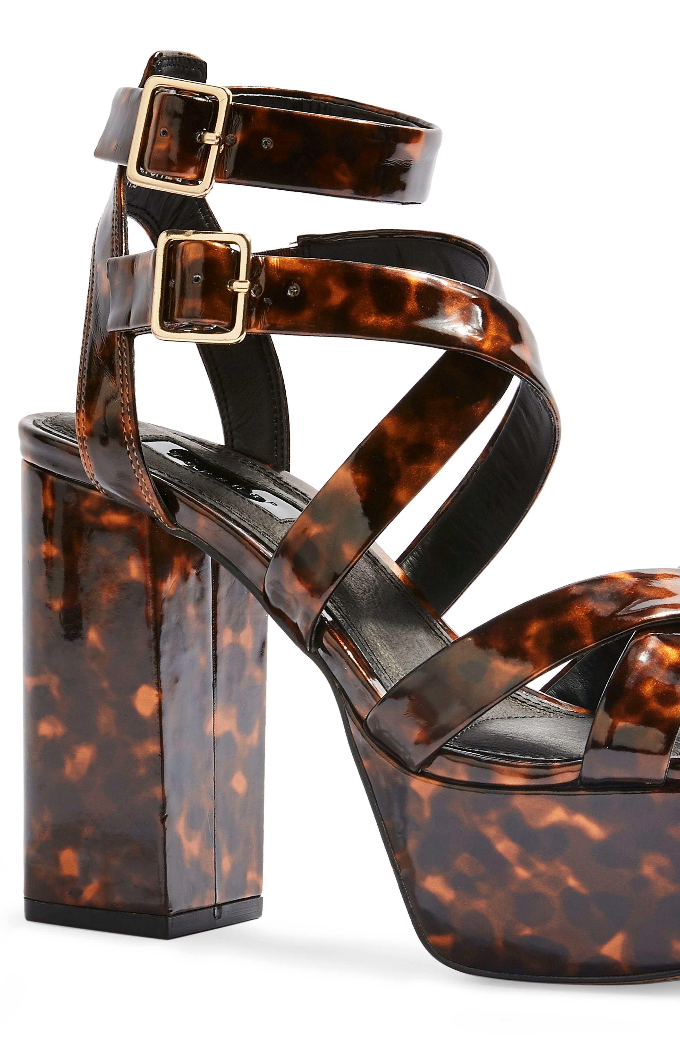 ,                             Radical Strappy Platform Sandal,                             Alternate thumbnail 4, color,                             BROWN MULTI