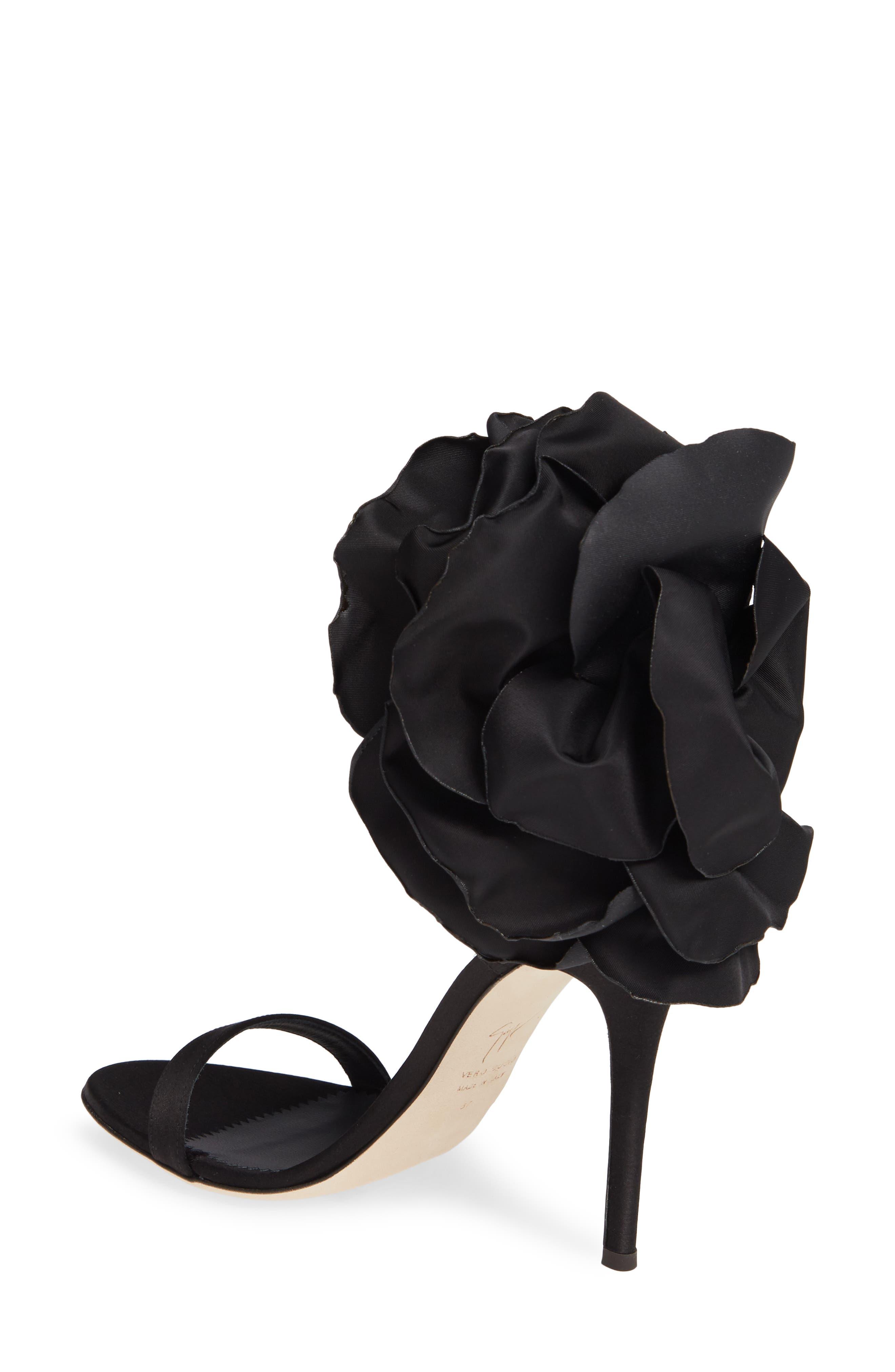 ,                             Blooming Flower Ankle Strap Sandal,                             Alternate thumbnail 2, color,                             BLACK