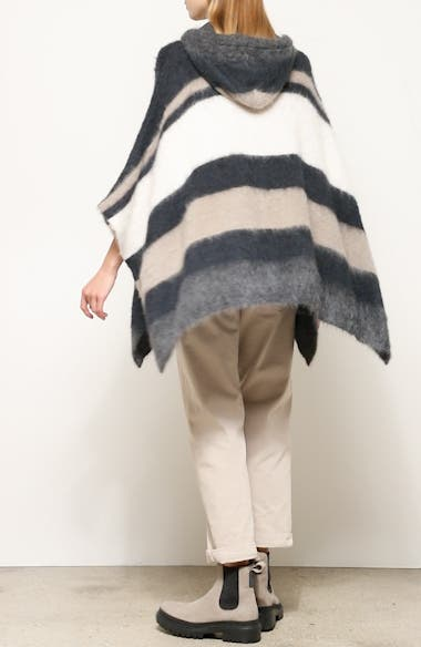 Hooded Stripe Poncho Sweater, video thumbnail