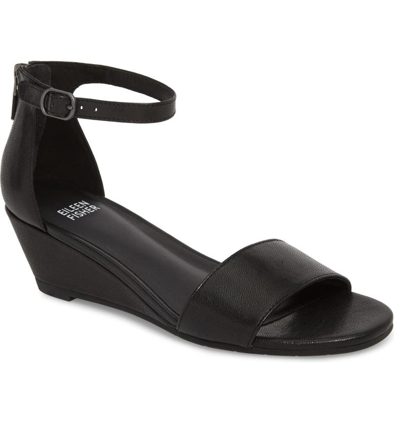 EILEEN FISHER Mara Ankle Strap Wedge Sandal, Main, color, 001
