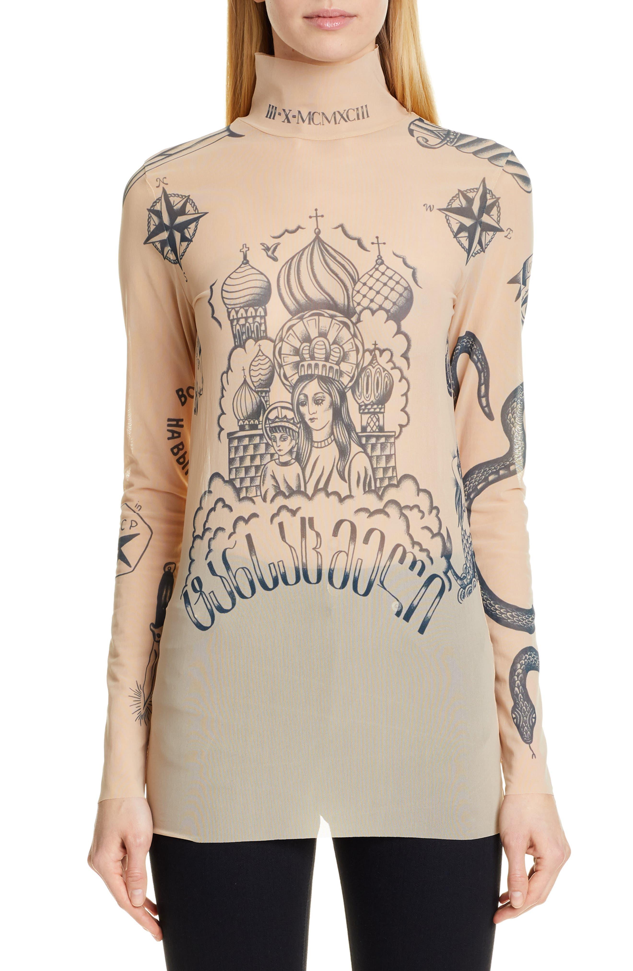 Vetements Tops Tattoo Graphic Mesh Top