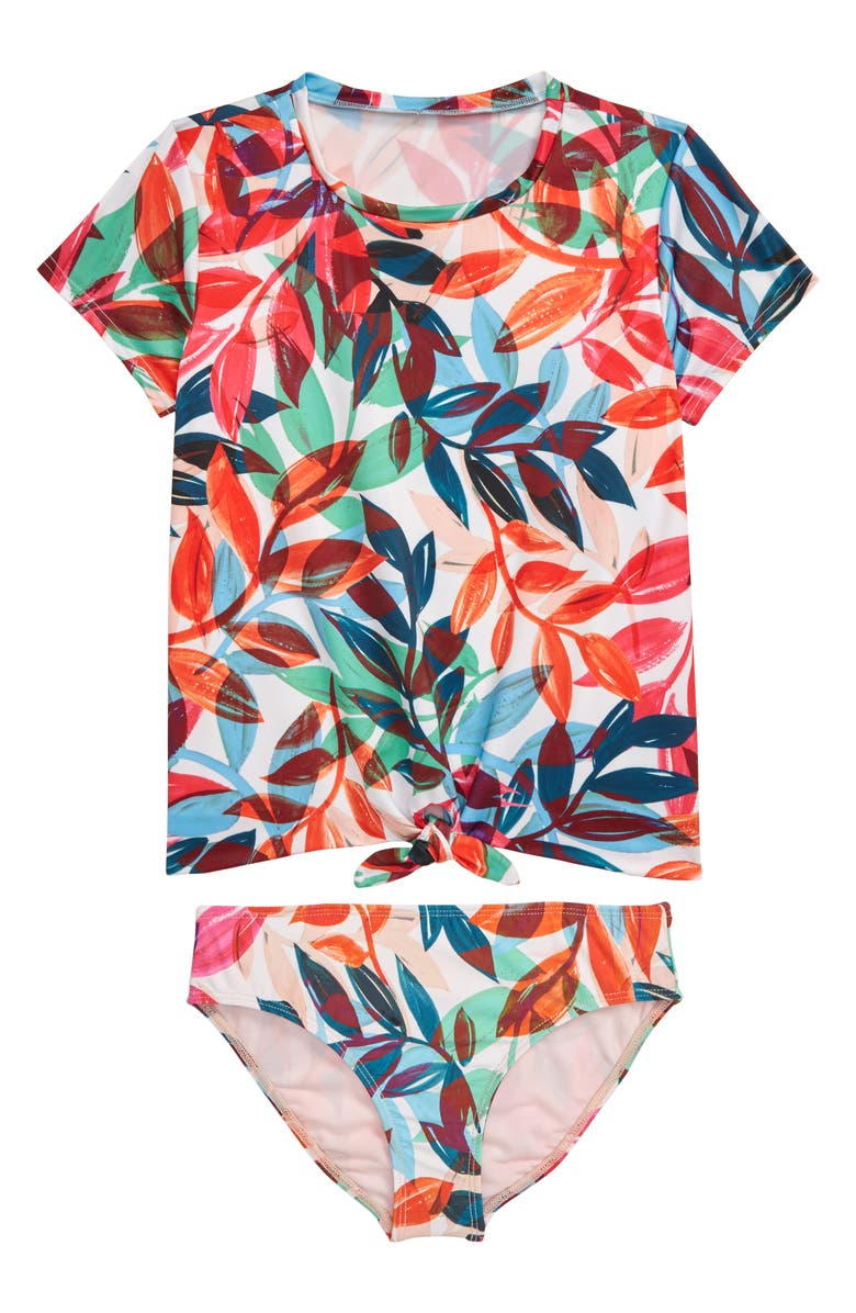 HEART AND HARMONY Leaf Print Two-Piece Rashguard Swimsuit, Main, color, MULTI