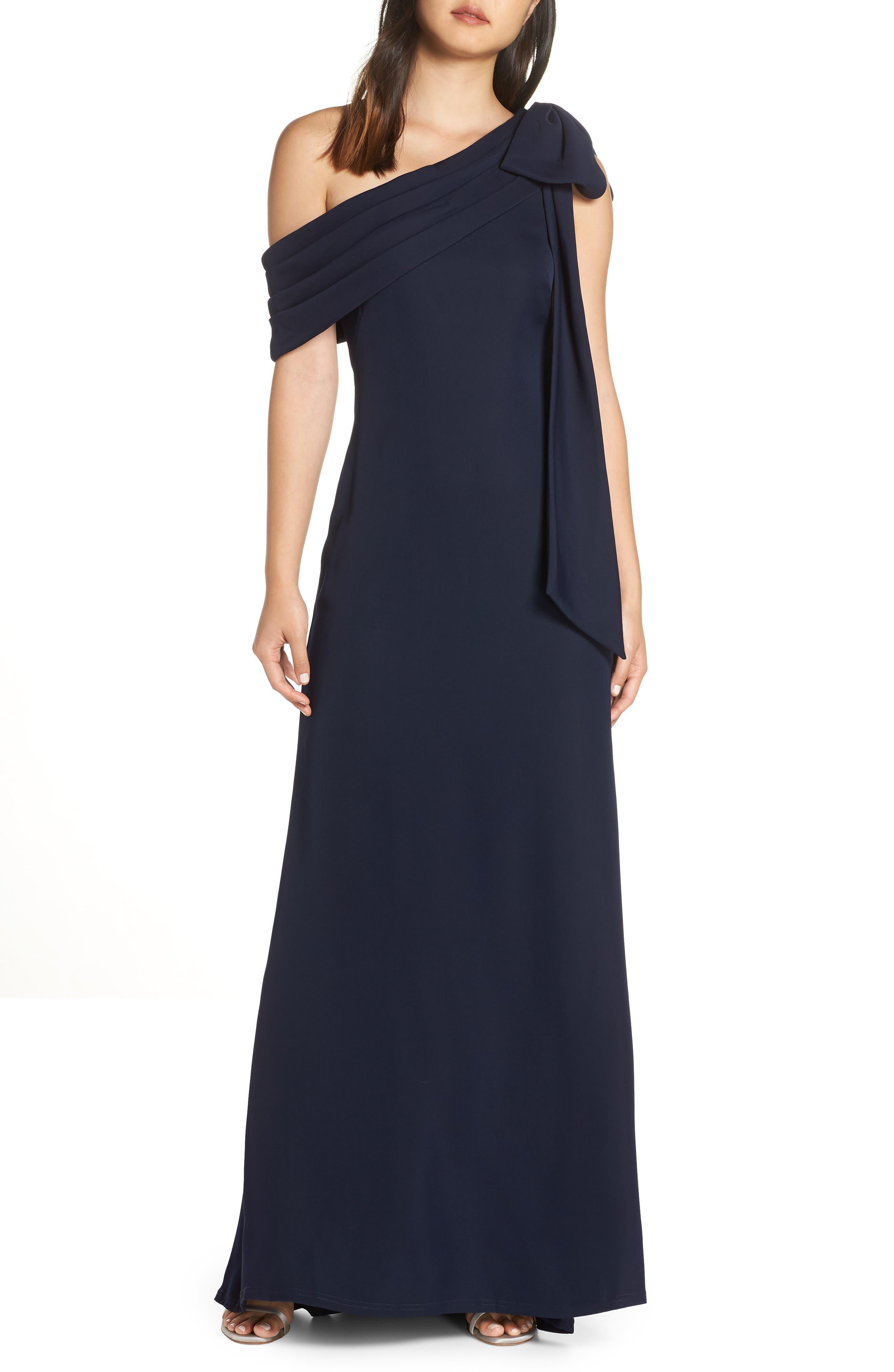 Tadashi Shoji Crepe Gown, Blue