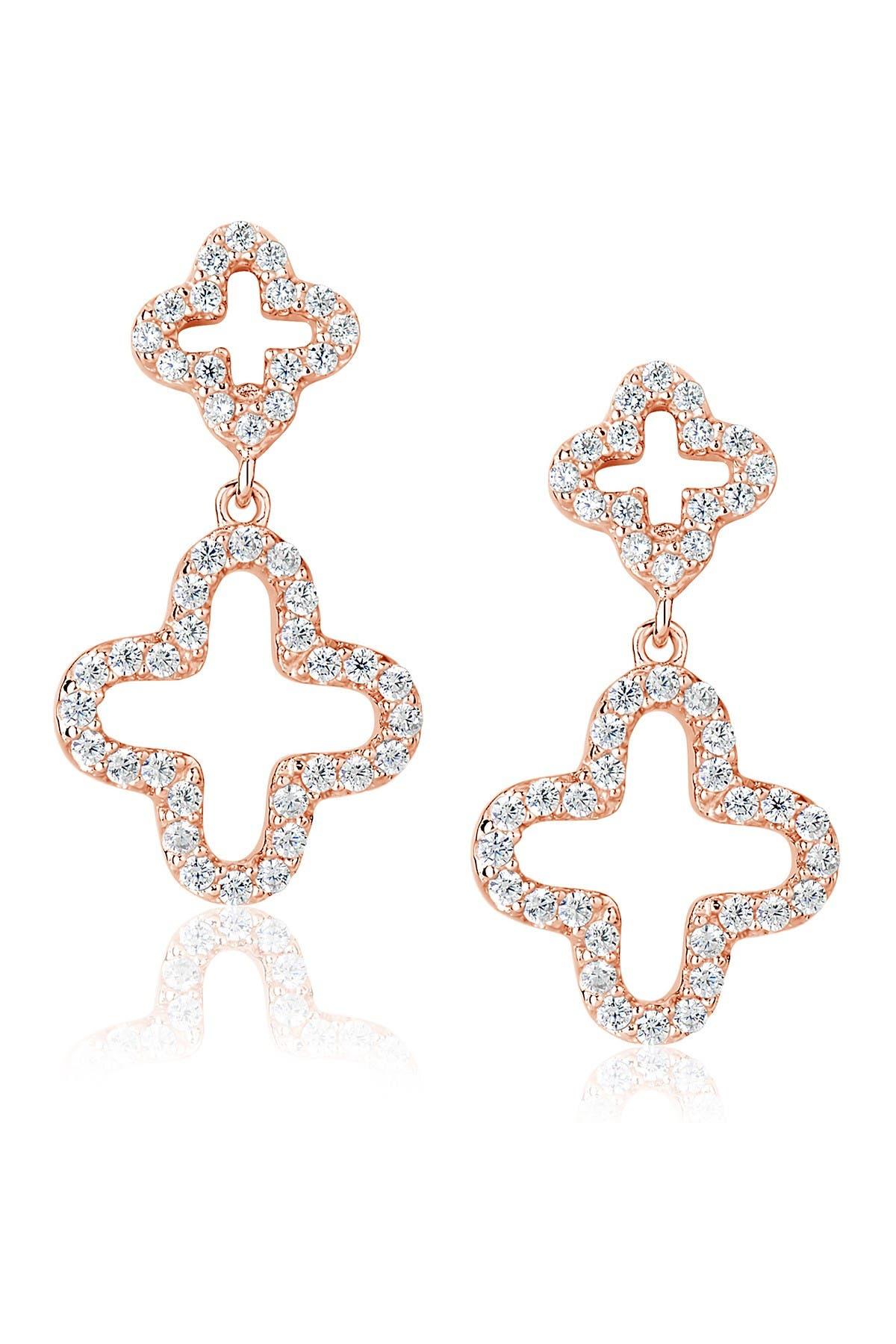 Image of Suzy Levian CZ Clover Drop Earrings