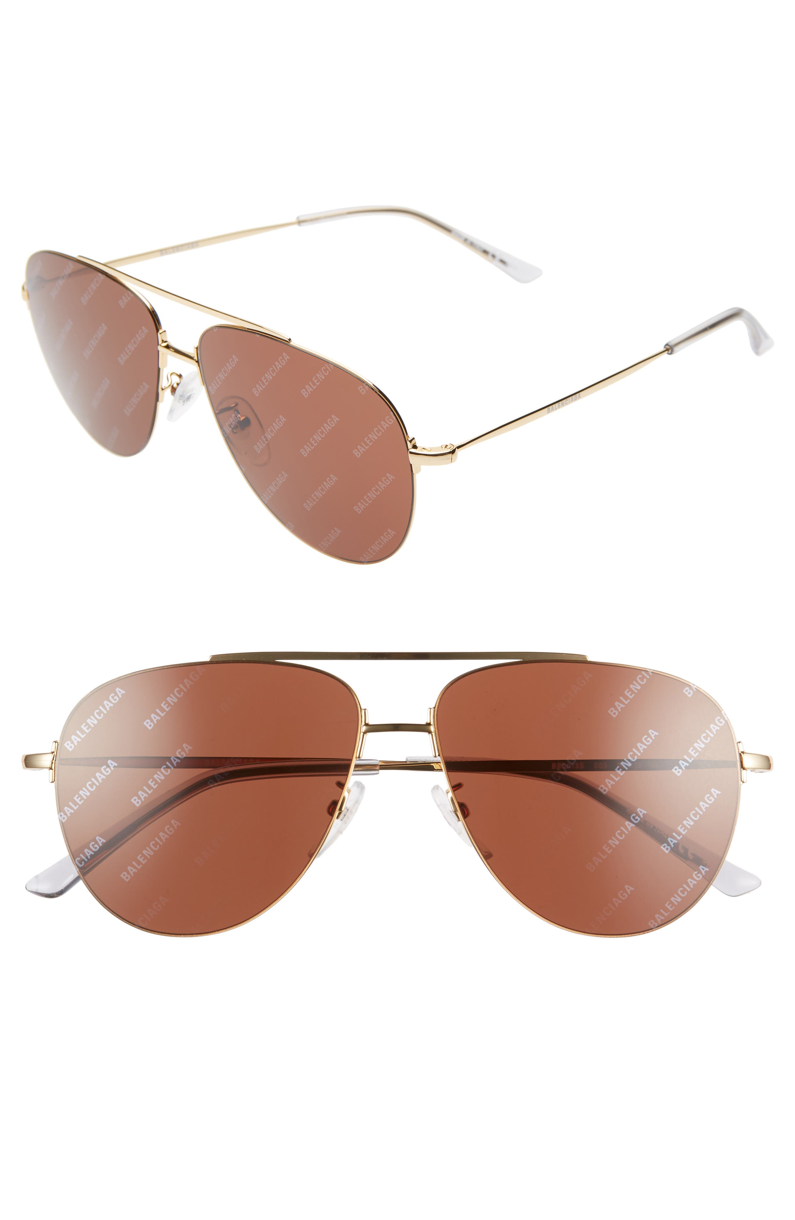 Balenciaga 5m Aviator Sunglasses - Shiny Endura Gold/ Brown