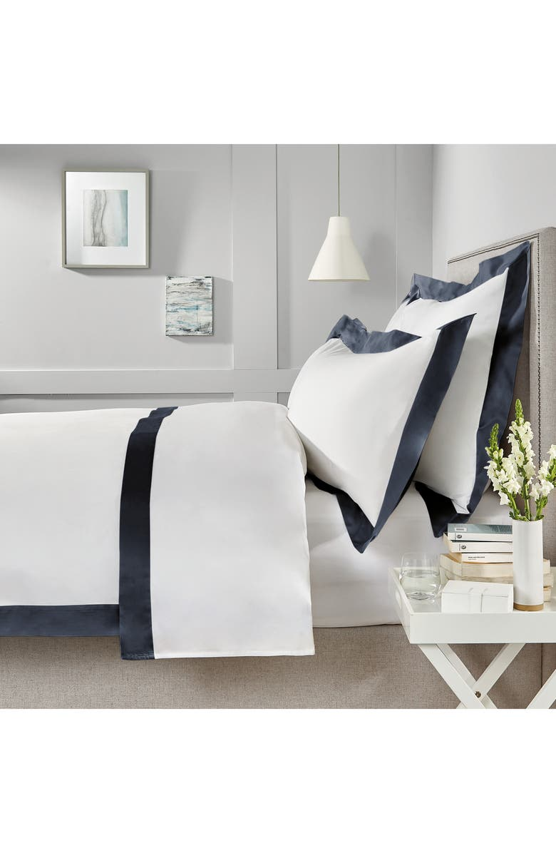 THE WHITE COMPANY Camborne 400 Thread Count Flat Sheet, Main, color, WHITE/ NAVY