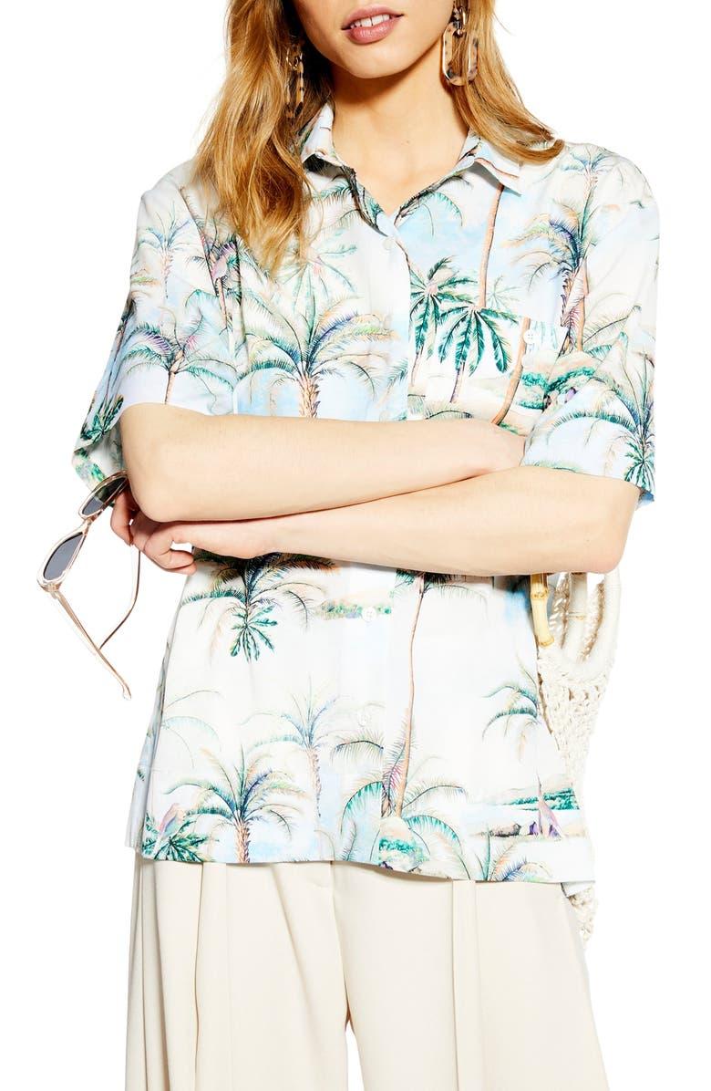 TOPSHOP Hawaiian Print Bowler Shirt, Main, color, 300